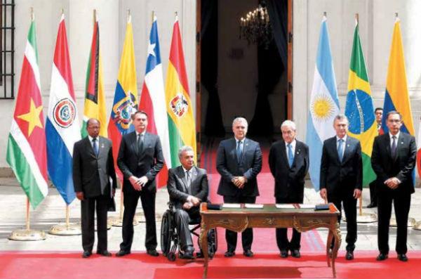 Los presidentes de Brasil, Ecuador, Colombia, Chile, Argentina, Perú y Paraguay crearon ayer el Prosur, un nuevo bloque regional para Sudamérica.FOTO: ESPECIAL