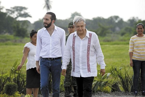 ENCUENTRO. Los presidentes de El Salvador y México recorrieron un vivero militar. Foto: CUARTOSCURO