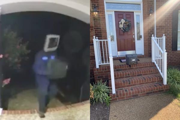 Por segundo año consecutivo, un hombre con cabeza de televisión visitó los hogares de Glen Allen, del Condado de Henrico, Virginia, y dejó televisores en los patios de los habitantes. Foto: Twitter