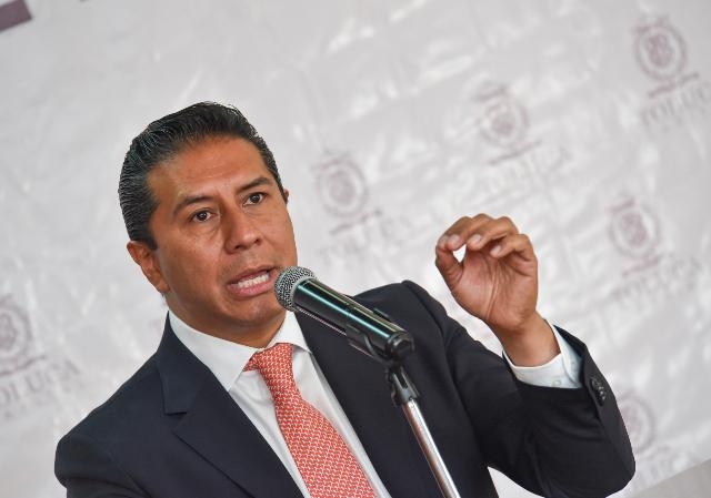 Juan Rodolfo Sánchez Gómez, alcalde de Toluca, durante un evento. FOTO: Cuartoscuro.