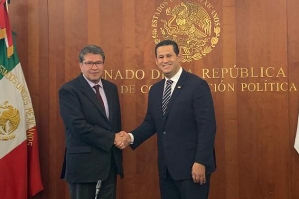 Ricardo Monreal, presidente de la Junta de Coordinación Política del Senado de la República y Diego Sinhue Rodríguez, gobernador de Guanajuato. Foto: Especial