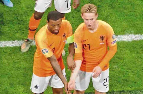 UNIÓN. El festejo de los holandeses se hizo viral. Foto: UEFA