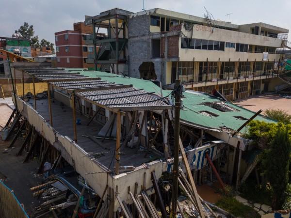 Toma aérea del edificio del Colegio Rébsamen, en la calle Rancho Tamboreo y calzada de Las Brujas en la colonia Nueva Oriental Coapa, delegación Tlalpan. Foto: Cuartoscuro