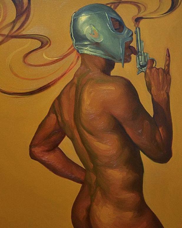 Pintura de Fabián Chairez, inspirado en lo que parecer ser El Santo. Foto: Instagram @fabian_chairez.