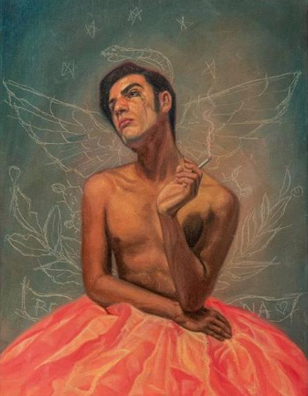 Pintura de Fabián Chairez, inspirado en el poeta, ensayista y dramaturgo mexicano Salvador Novo. Foto: Instagram @fabian_chairez.