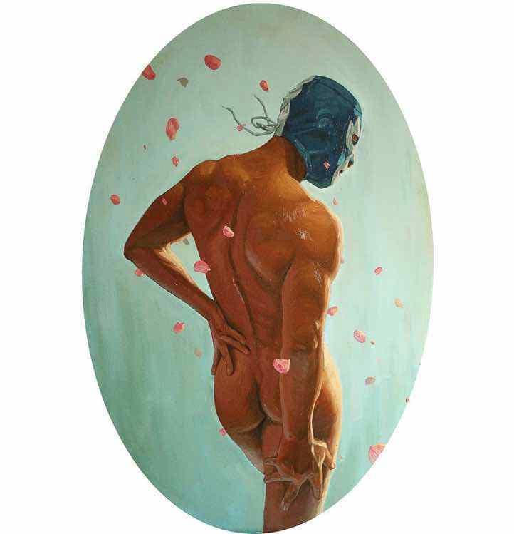 Pintura de Fabián Chairez, inspirado en lo que parecer ser Blue Demon. Foto: Instagram @fabian_chairez.