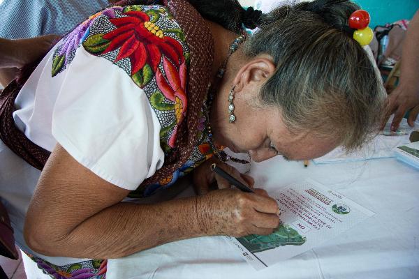 Se realizó la fase final del proceso de Consulta del Tren Maya en 84 municipios de los estados de Chiapas, Tabasco, Campeche, Yucatán y Quintana Roo.  FOTO: MARTÍN ZETINA /CUARTOSCURO.COM